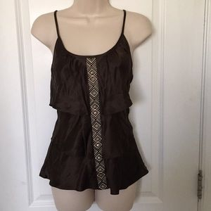 WHBM brown silk cami Sz SMALL